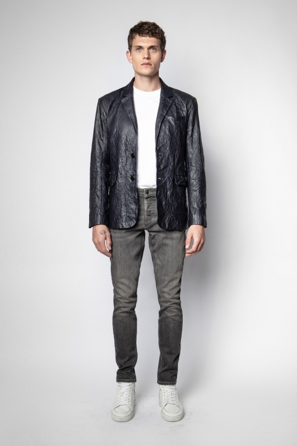 VALFRIED CRINKLE LEATHER VESTE JACKET